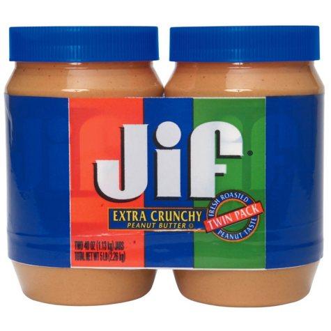 Jif Extra Crunchy Peanut Butter (40 oz. jar, 2 pk.)