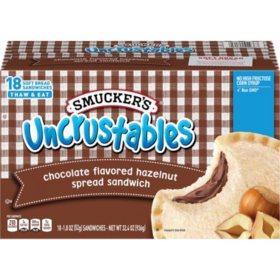 Smucker's Uncrustables Chocolate-Flavored Hazelnut Spread Sandwich, Frozen (18 pk.)