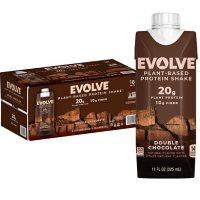 Evolve Plant Based Protein Shake, Double Chocolate, 20g Vegan Protein, Dairy Free, No Artificial Sweeteners, Non-GMO, 10g Fiber (11 fl. oz., 18 pk.)