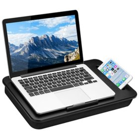 "LapGear Sidekick Lap Desk with Device Ledge and Phone Holder, Fits up to 15.6"" Laptops, Assorted Colors"