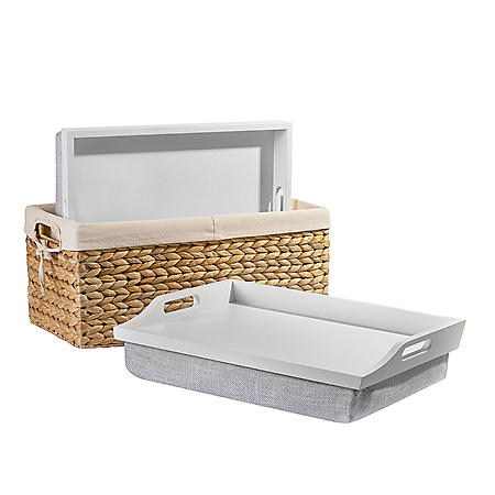 """Rossie Home Lap Tray with Basket Set, Fits up to 15.6"""" Laptops, Assorted Styles"""