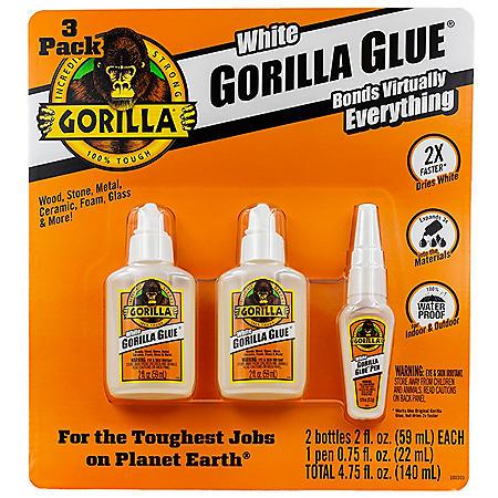 Gorilla Glue Dries White/Dries White Pen, 3 Pack - Sam's Club