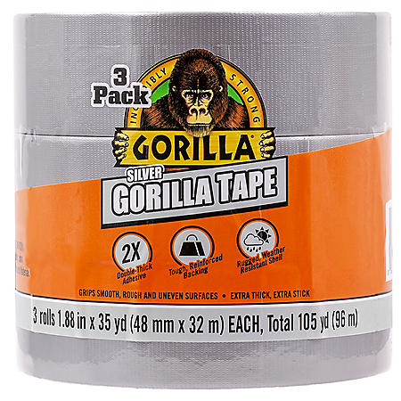 Gorilla Ultra Durable Silver 35 Yard Tape, 3 Pack