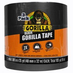 Gorilla 35-Yard Black Tape, 3-pk