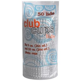 Club Cups 9 oz. & 10 oz. Clear Plastic Lids - 50 ct. - 10 pk.