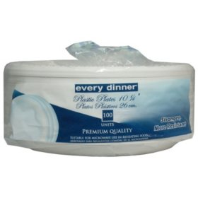 "Every Dinner Plastic Plates (100 ct./10 1/4"")"