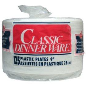 """Classic DinnerWare 9"""" Plastic Plates, 125 ct."""