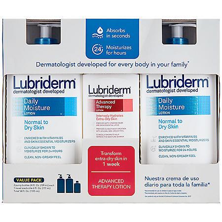 Lubriderm Daily Moisture Lotion (24 fl. oz., 2 pk.) & Advanced Therapy Lotion (6 fl. oz. Travel Size)