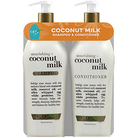 OGX Coconut Milk Shampoo and Conditioner Twin Pack with Pump (25.4 oz., ea.)