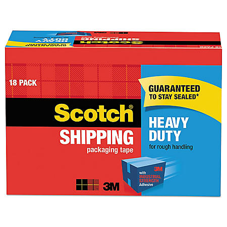 "Scotch 3850 Heavy-Duty Packaging Tape Cabinet Pack, 3"" Core, 1.88"" x 54.6 yds, Clear, 18/Pack"