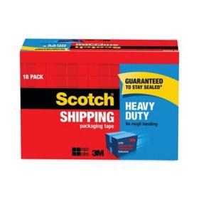 "Scotch 3850 Heavy-Duty Packaging Tape Cabinet Pack, 1.88"" x 54.6yds, 18pk."