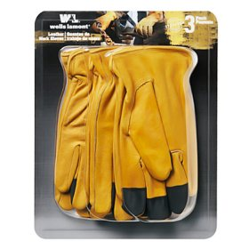 Wells Lamont Grain Leather Glove - 3 pk. - XL