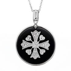 Sterling Silver with 0.12 CT. T.W. Diamond & Onyx Cross Pendant (H-I, I1)