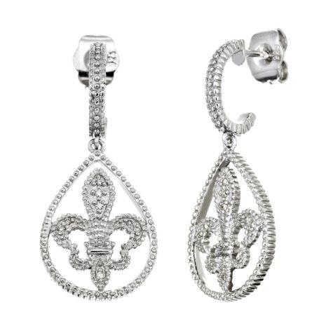 Fleur De Lis Diamond Accent Milgrain Dangle Earrings (I, I1)