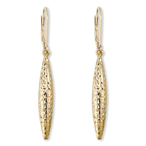Diamond Cut Leverback Drop Earrings in 14K Yellow Gold
