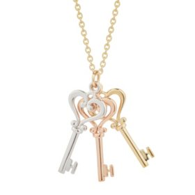 14K Tri-Color Key Charm Pendant