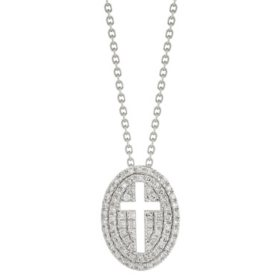 Sterling Silver and Diamond Cross Necklace