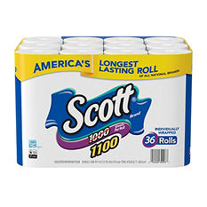 Scott 1100 Unscented Bath Tissue Bonus Pack, 1-ply (36 Rolls)