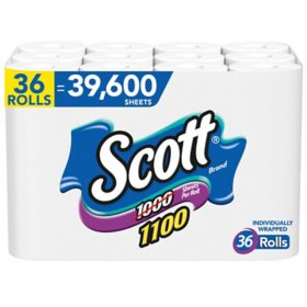 Scott 1100 Unscented Bath Tissue, 1-ply (36 Rolls = 1100 Sheets Per Roll) - Individually Wrapped Toilet Paper