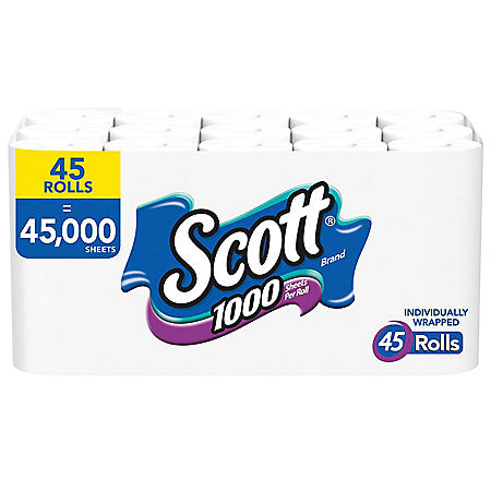 Scott 1000 Limited Edition Bath Tissue (45 rolls = 1,000 Sheets Per Roll) Toilet Paper