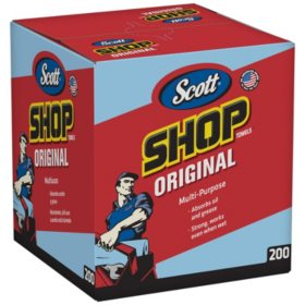 "Scott Shop Towels for Pop-Up Dispenser Box, Blue, 10"" x 12"" (1 box, 200 sheets)"