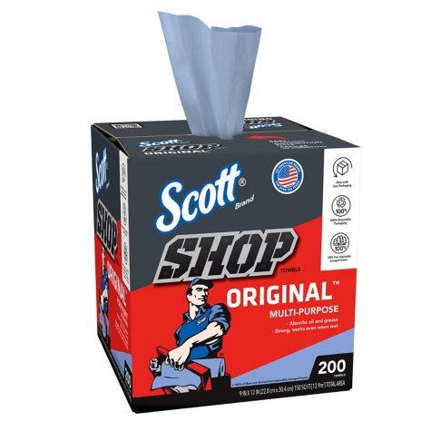 """Scott Shop Towels for Pop-Up Dispenser Box, Blue, 10"""" x 12"""" (200 sheets per box, 8 boxes)"""