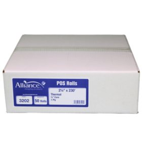 "Alliance Thermal Paper Receipt Rolls, 2 1/4"" x 230', White, 50 Rolls"