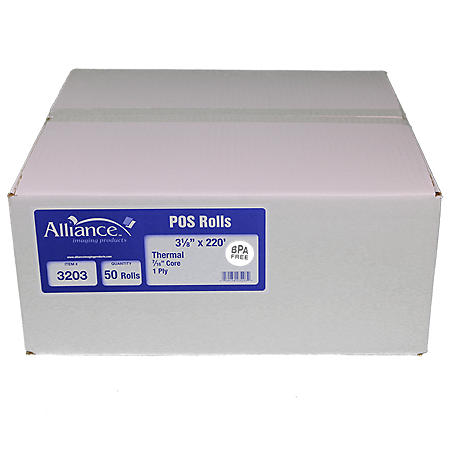 "Alliance BPA Free Thermal Paper Receipt Rolls, 3 1/8"" x 220', White, 50 Rolls"
