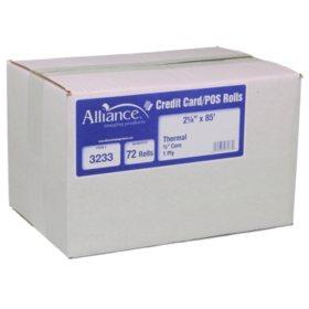 "Alliance Thermal Paper Receipt Rolls, 2 1/4"" x 85', White, 72 Rolls"