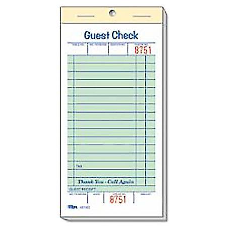 "Alliance 1-Part Guest Checks, 3.4"" x 6.75"", 16-lines, Green, 100 Checks, 50 Books"