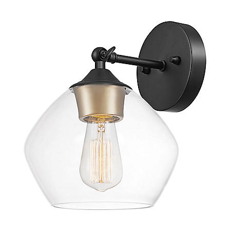 Globe Electric Harrow 1-Light Wall Sconce in Matte Black with Vintage Light Bulb