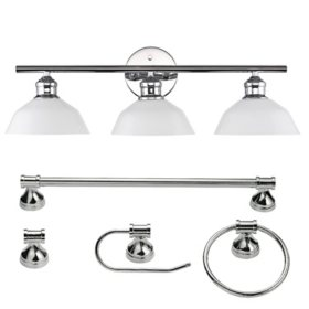 Globe Electric Johnson 5-Piece Bathroom Set in Chrome with Vanity and Bulbs