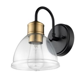 Globe Electric Brown 1-Light Wall Sconce in Dark Bronze with Vintage Light Bulb