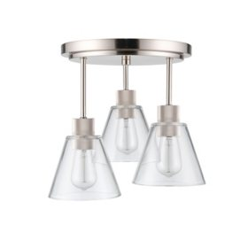 Globe Electric Flynn Flush Mount Ceiling Light in Brushed Nickel with Bulbs