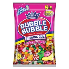 Dubble Bubble Chewing Gum Tabs Assorted (5lbs.)