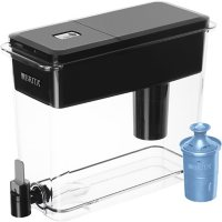 Brita Extra-Large 18-Cup Filtered Water Dispenser with 1 Longlast+ Filter, Jet Black