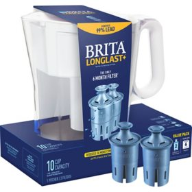 Brita Large 10-Cup Water Filter Pitcher with 2 Longlast+ Filters, Wave (Assorted Colors)