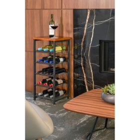neatfreak 15-Bottle Metal Wine Rack with Wood Top