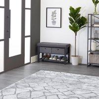 neatfreak Fabric Upholstered Shoe Storage Bench with 2 Drawers