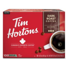 Tim Hortons Premium Dark Coffee, Dark Roast (100 ct.)