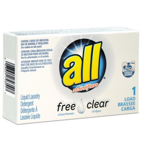 All Free Clear HE Liquid Laundry Detergent, Unscented, 1.6 oz Vend-Box (100 ct.)