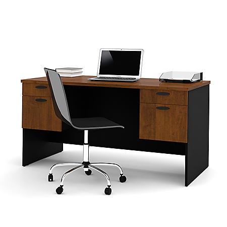 Bestar Hampton HomePro 69000 Executive Desk, Tuscany Brown/Black