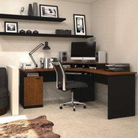 Bestar Hampton HomePro 69000 Corner Workstation, Tuscany Brown/Black