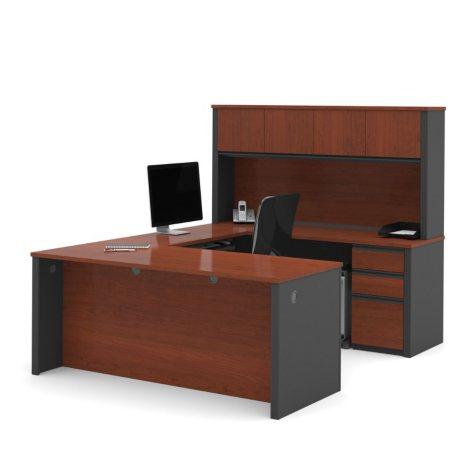 Bestar Prestige + OfficePro 99000 6-Drawer U-Shaped Desk with Hutch, Bordeaux/Graphite