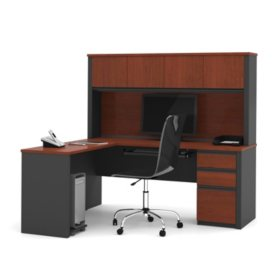 Bestar Prestige + OfficePro 99000 3-Drawer L-Shaped Desk with Hutch, Bordeaux/Graphite