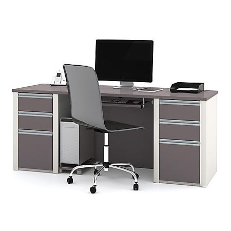 Bestar Connexion OfficePro 93000 Bow-Front Desk with Pedestals, Select Color