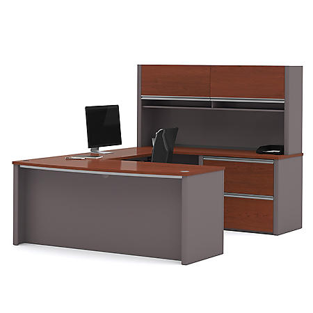 Bestar Connexion OfficePro 93000 2 Drawer U Shaped Bow Front Desk With  Hutch, Select Color
