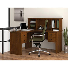 Bestar Somerville HomePro 45000 L-Shaped Desk with Hutch, Select Color