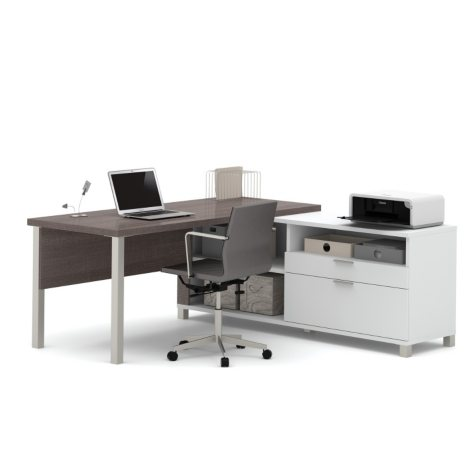 Bestar Pro-Linea OfficePro 120000 L-Shaped Desk with Drawers, White/Bark Gray