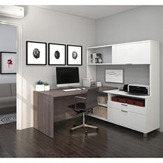 Bestar Pro-Linea OfficePro 120000 L-Shaped Desk with Hutch, White/Bark Gray